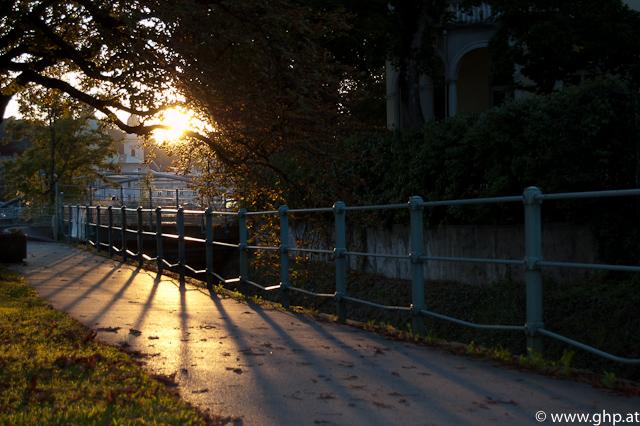 Sonnenuntergang im Volksgarten